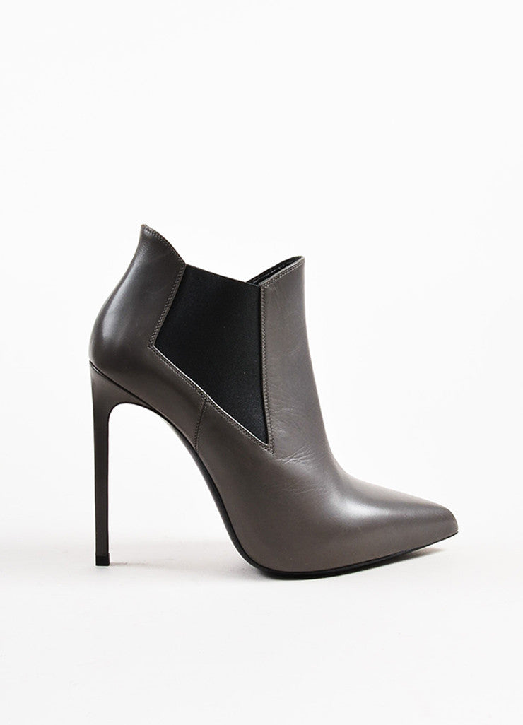 Saint Laurent Grey Leather Pointed Toe Stretch Panel Ankle Boots Sideview