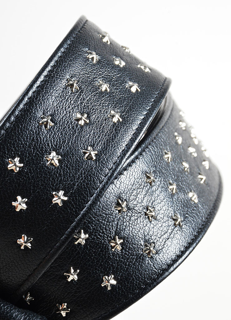 Black and Silver Toned Saint Laurent Leather Star Stud Belt Detail 2