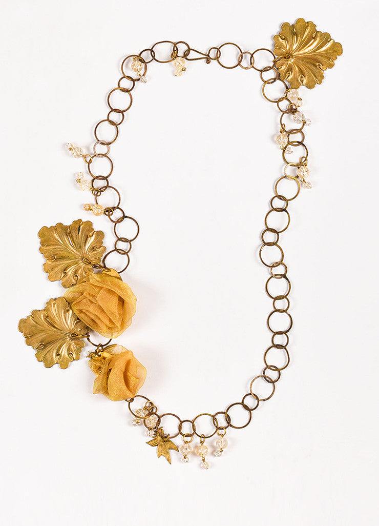 Susanna Galanis Vintage Brass Chiffon Flower Citrine Bead Chain Necklace Frontview