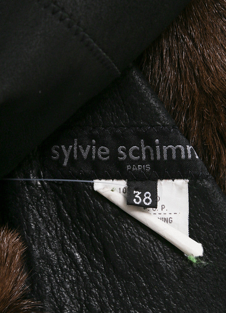 Sylvie Schimmel Black and Brown Shearling, Leather, and Fur Long Sleeve Coat Brand