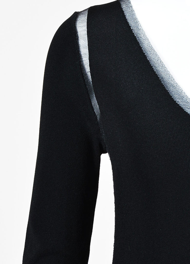 Tom Ford Black Mesh V-Neck See-Through Trim Sweater Detail