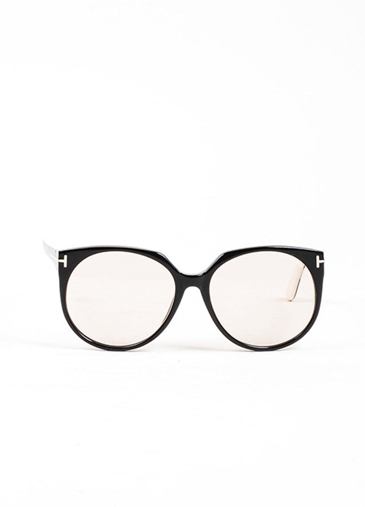 "Black and Cream Tom Ford Interchangeable ""Agatha"" Oval Sunglasses Frontview"