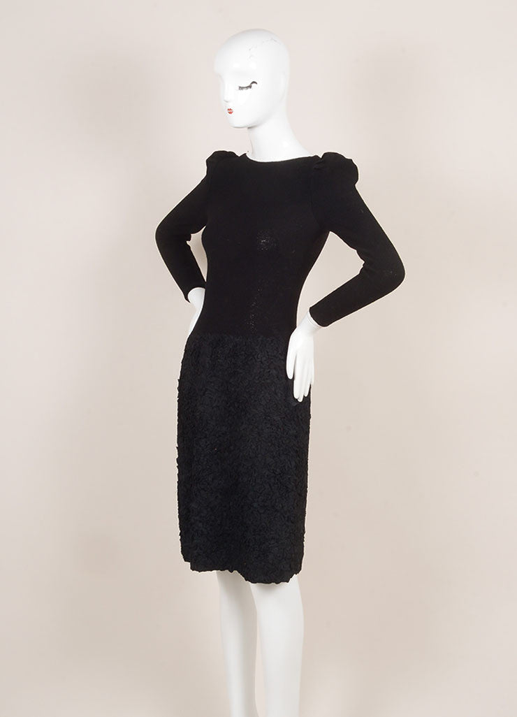 Adolfo Black Long Sleeve Boat Neck Wool Blend Textured Skirt Knit Dress Sideview