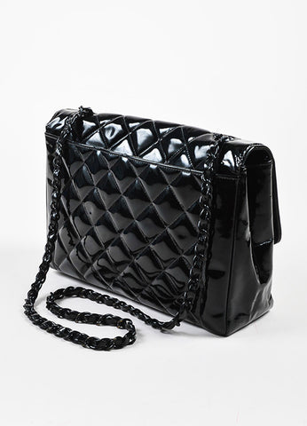 "Black Chanel Quilted Patent Leather ""Diana"" Shoulder Bag Back"
