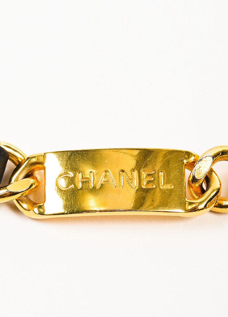 Chanel Black and Gold Toned Leather Chain Interwoven 'CC' Coin Charm Belt Brand
