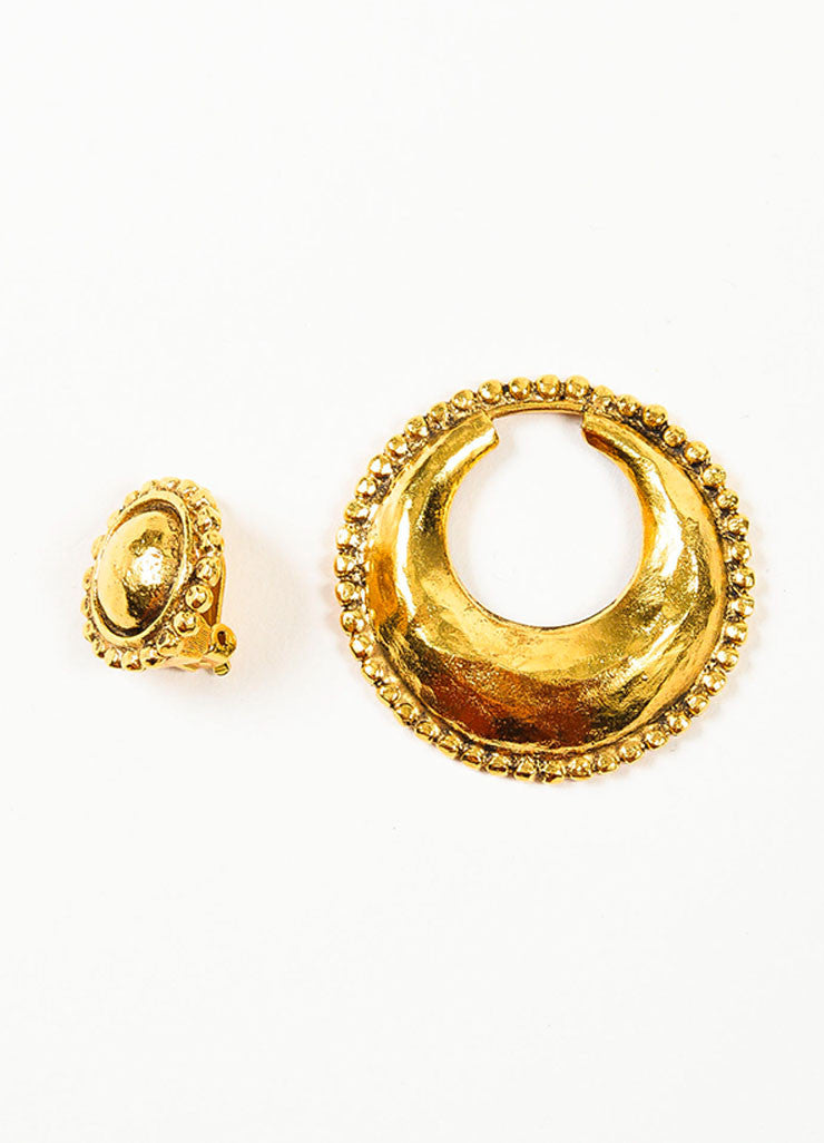 Gold Toned Hammered Chanel Convertible Hoop Clip On Earrings Detail