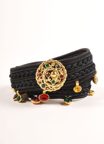 Yves Saint Laurent Black and Multicolor Curled Rope and Gem Bead Detail Belt Frontview