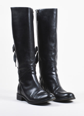 Valentino Garavani Black Leather Lace Up and Bow Detail Calf High Boots Frontview