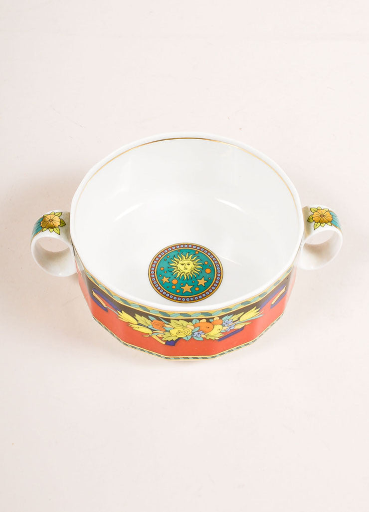 "Versace Rosenthal Red and Multicolor ""Le Roi Soleil"" Large Soup Cup Topview"