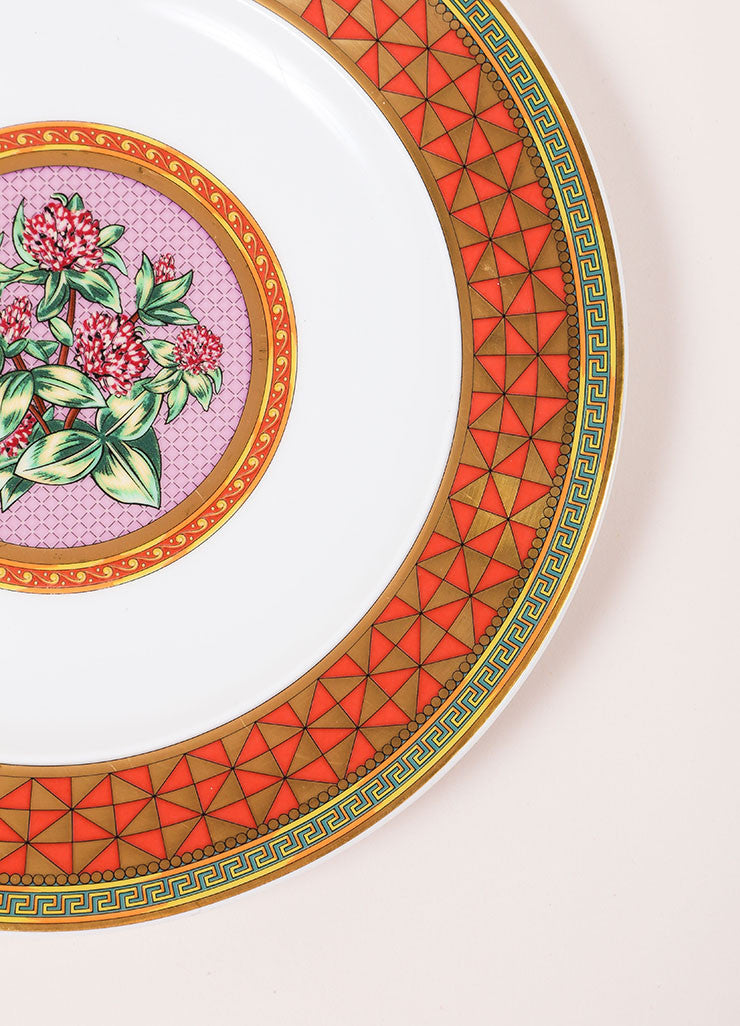 "Versace Rosenthal ""Floral Elegy Rose Pink"" 9 inch Salad Plate Detail"