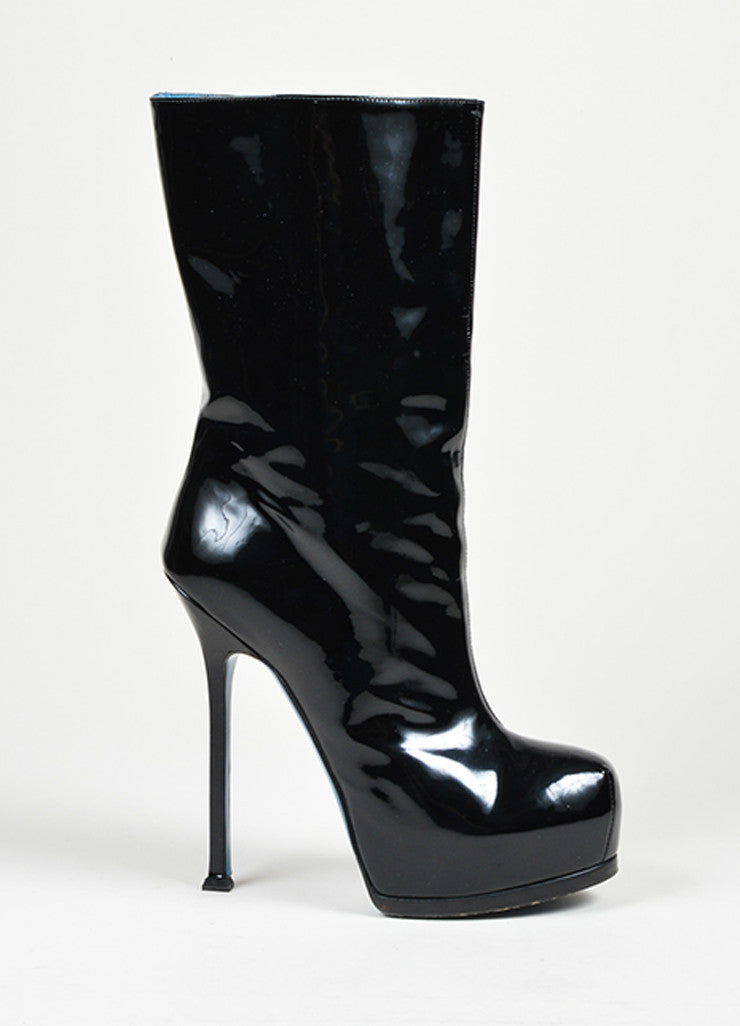 "Black Yves Saint Laurent ""Tribtoo 105"" Platform Boots Side"