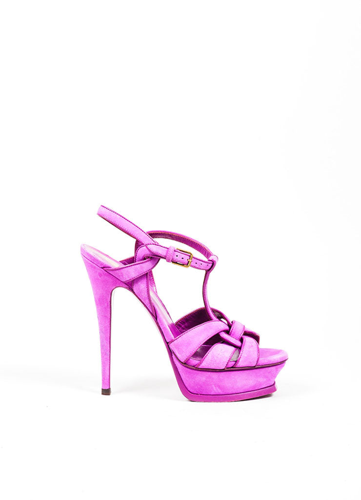 "Fuchsia Yves Saint Laurent Suede ""Tribute"" Sandals Side"