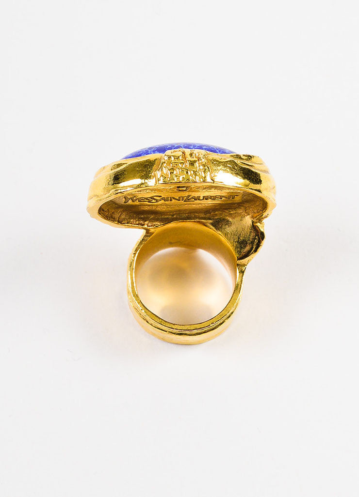 "Yves Saint Laurent Gold Toned Metal and Blue Painted Glass Stone ""Arty"" Ring Topview"