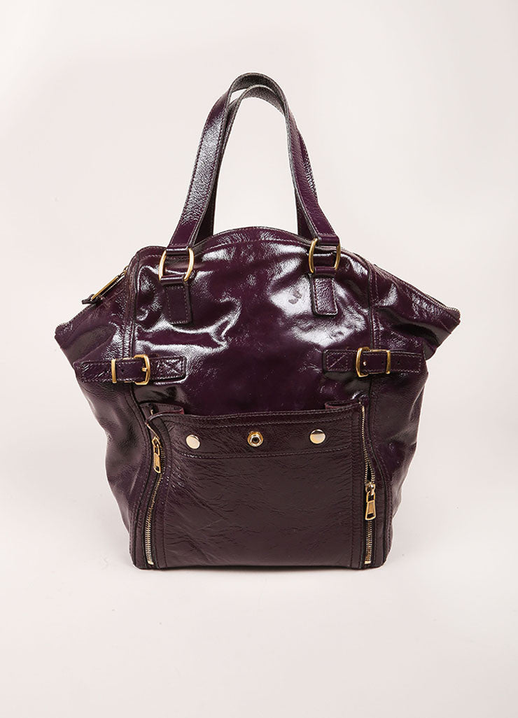 "Yves Saint Laurent Purple Patent Leather Textured ""Downtown"" Tote Bag Frontview"