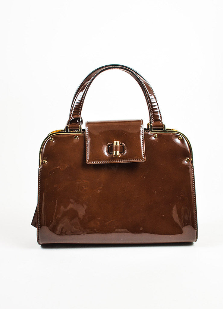 "Yves Saint Laurent Rive Gauche Brown Patent Leather ""Small Uptown"" Frame Bag Frontview"