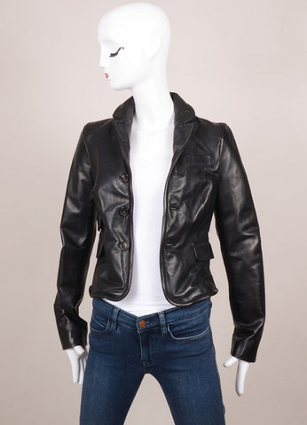 DSquared2 Black Leather Structured Long Sleeve Jacket Frontview