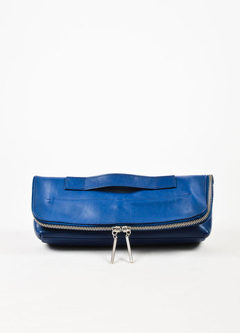 "3.1 Phillip Lim ""Cerulean"" Blue Leather Fold Over Medium ""31 Minute"" Clutch Bag Frontview"