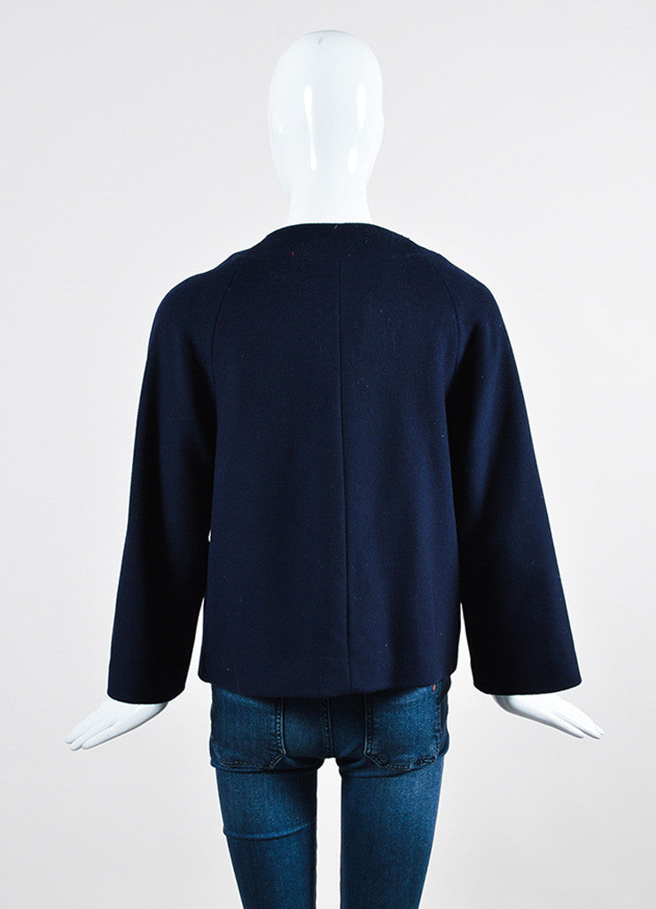 3.1 Phillip Lim Navy Wool Silver Toned Cylinder Embellished Jacket Backview
