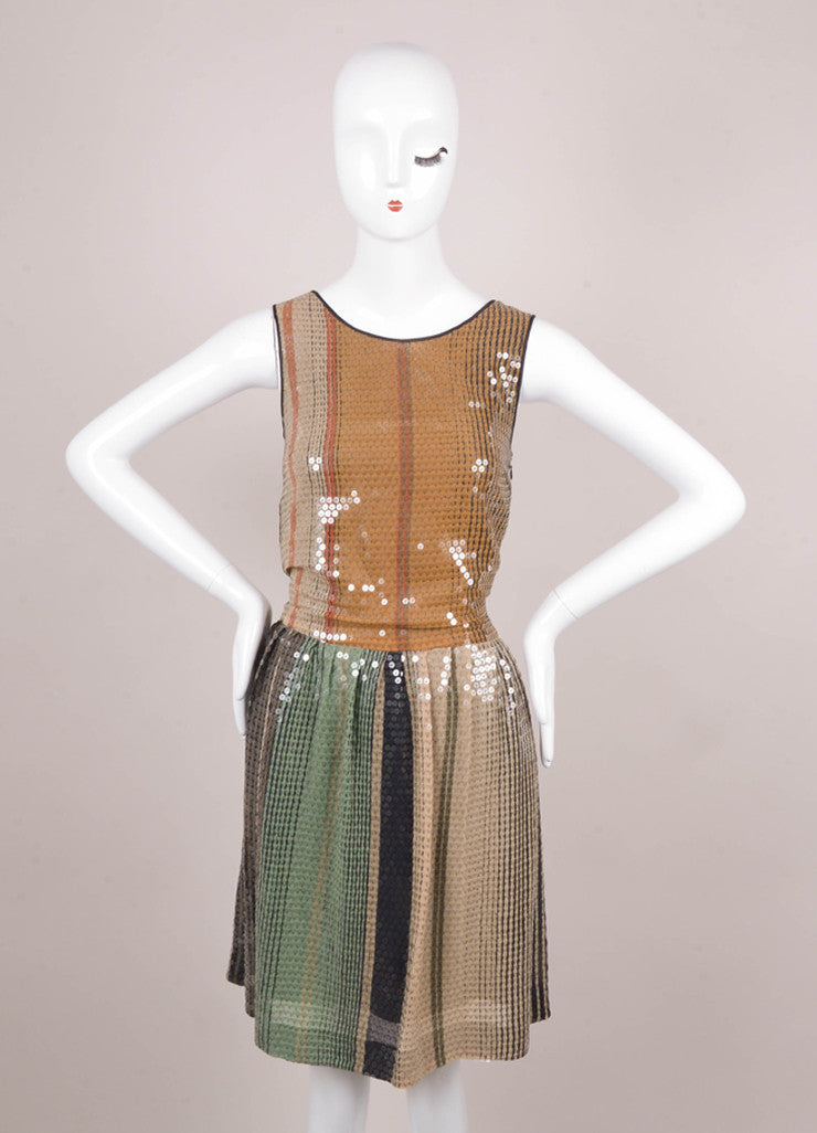 Black, Brown, and Green Sequin Embellished Sleeveless Dress