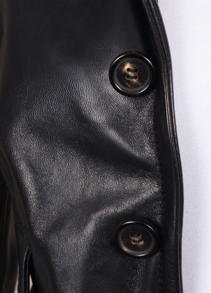 DSquared2 Black Leather Structured Long Sleeve Jacket Detail