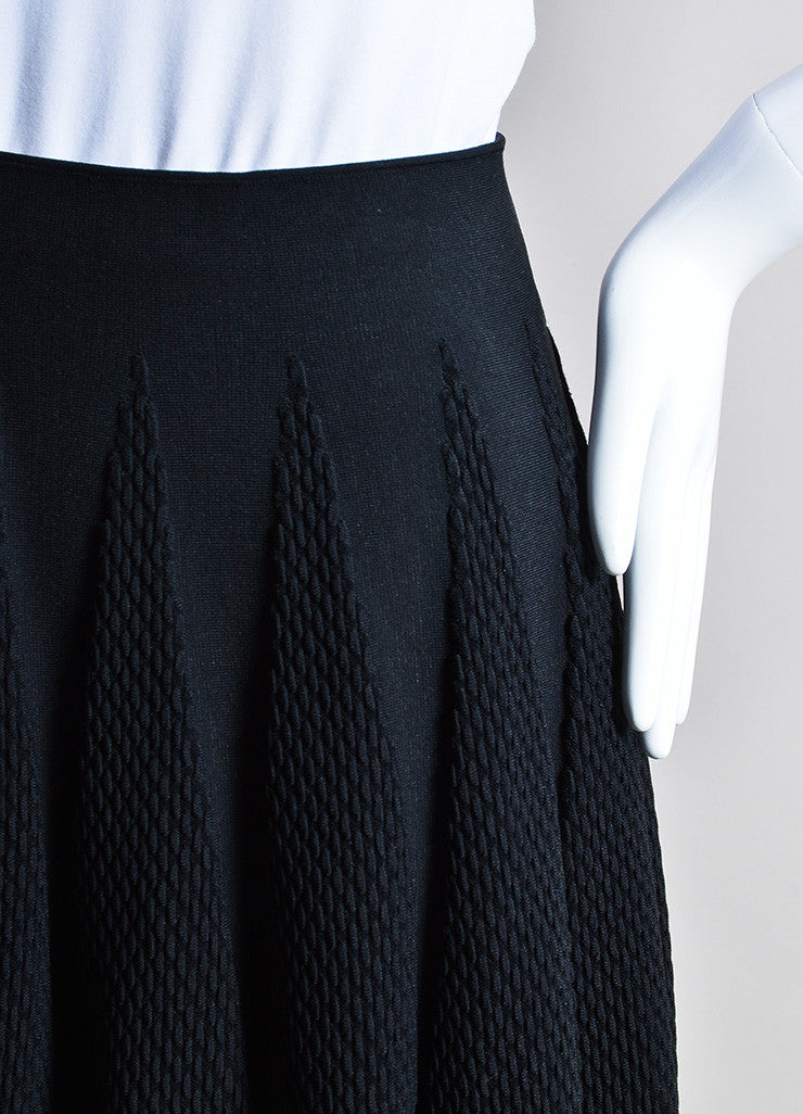 Black Alaia Stretch Crepe Textured Knit A-Line Flared Skirt Detail
