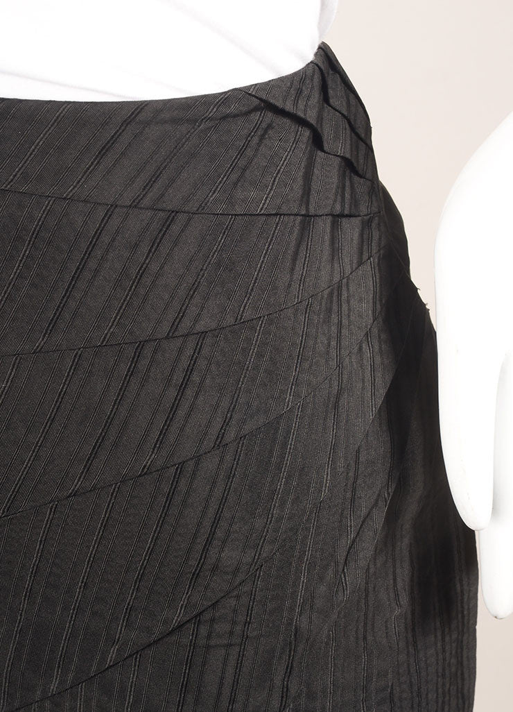 Alexander McQueen Black Silk Pinstripe Pintuck Pleated Pencil Skirt Detail
