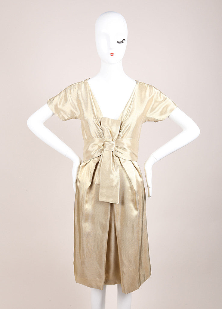 Alexander McQueen Gold Woven Metallic Pleated Short Sleeve Belted Dress Frontview