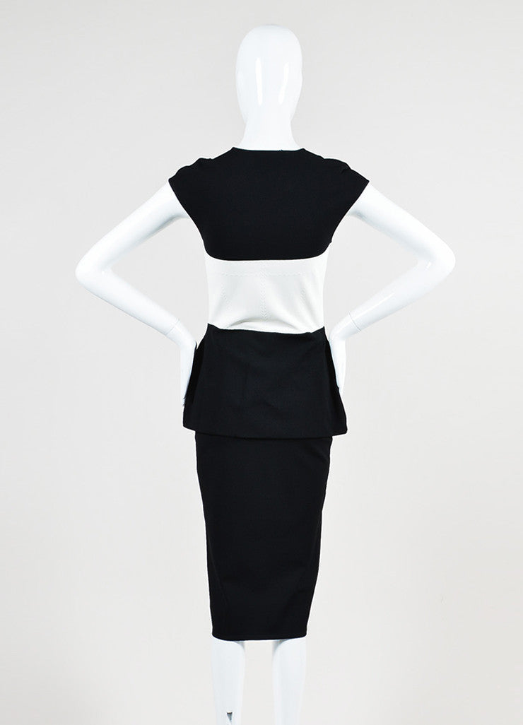 Black and White Alexander McQueen Knit Color Block Peplum Dress Backview