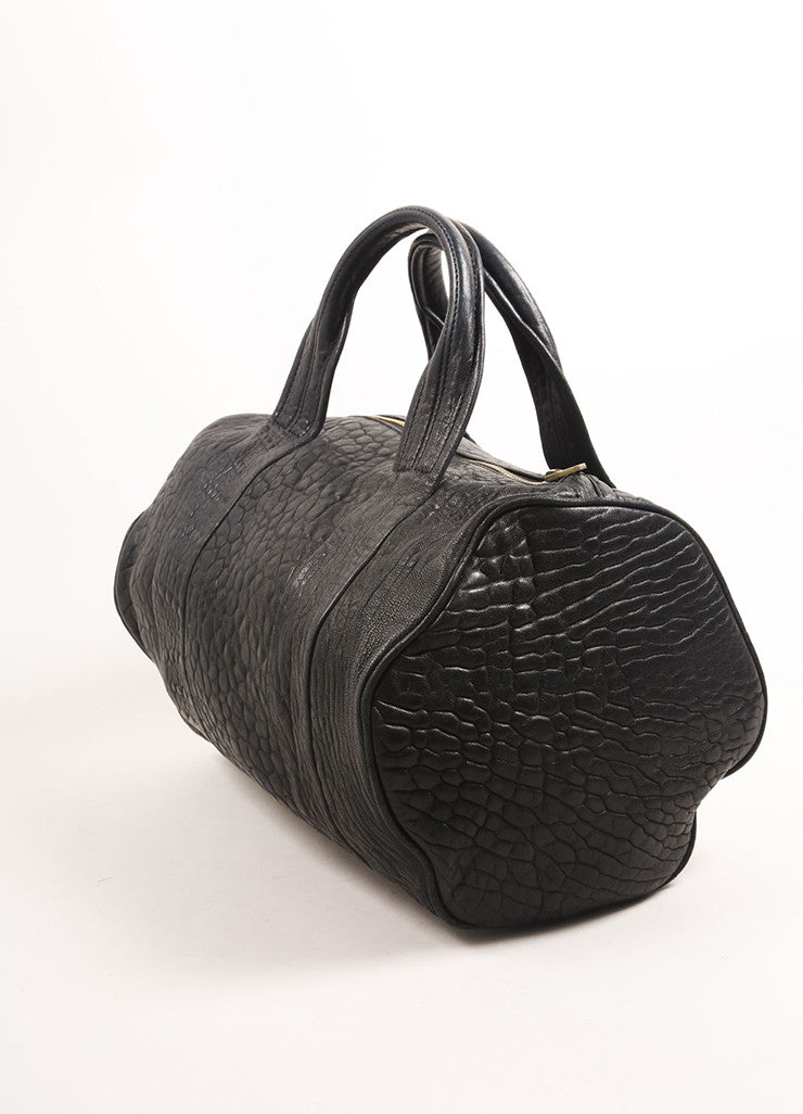"Alexander Wang Black Pebbled Leather Gold Toned Studded ""Rocco"" Duffel Bag Sideview"