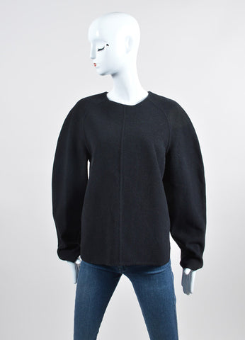 """Jet"" Black Alexander Wang Wool and Cashmere Long Sleeve Pullover Sweater Frontview"