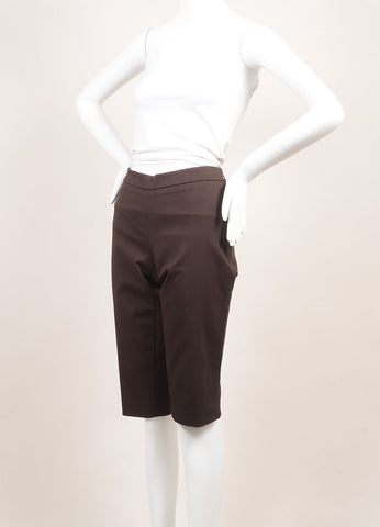 Andrew Gn New With Tags Brown Cotton Tailored Bermuda Shorts Sideview
