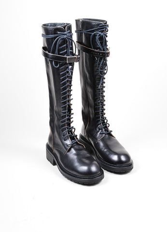Black Ann Demeulemeester Leather Lace Up Knee High Combat Boots Frontview