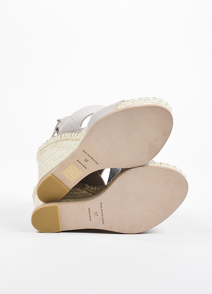 Balenciaga Taupe Leather Espadrille Wedge Sandals Outsoles