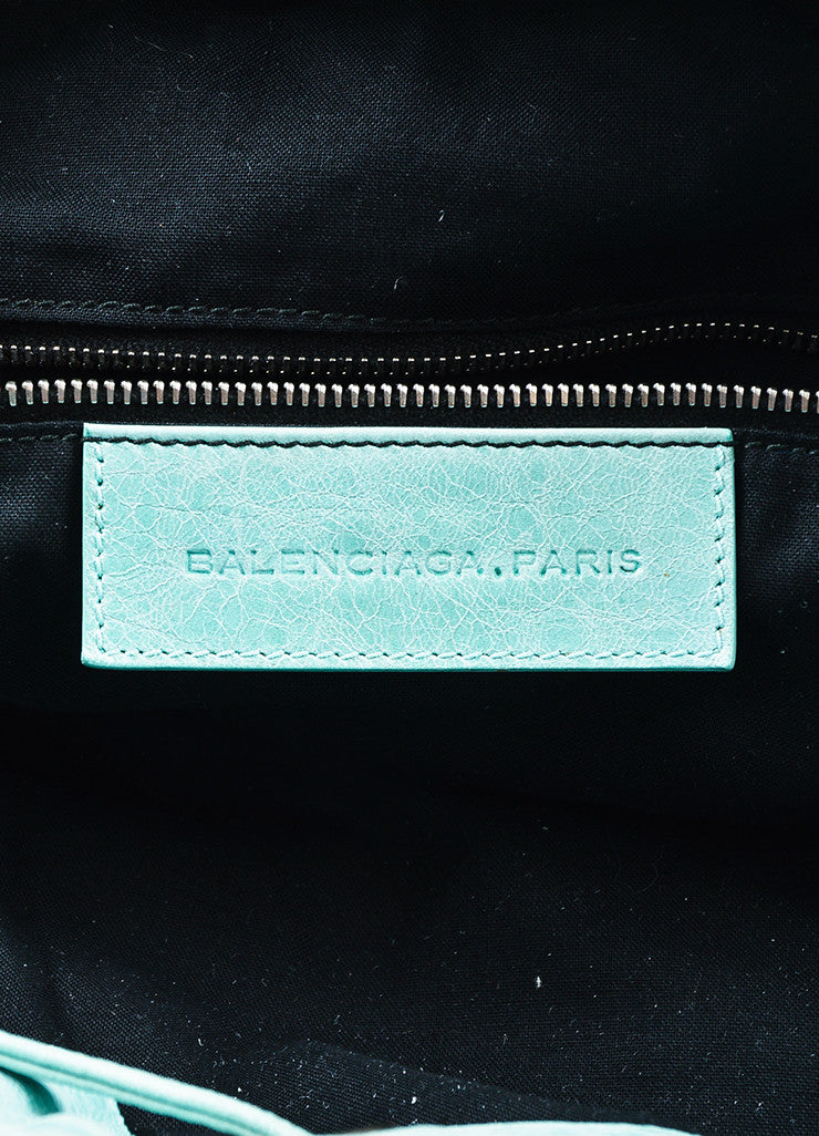 "Balenciaga Mint Green Leather ""Giant 21 Covered Brogues Pompon"" Bag Brand"