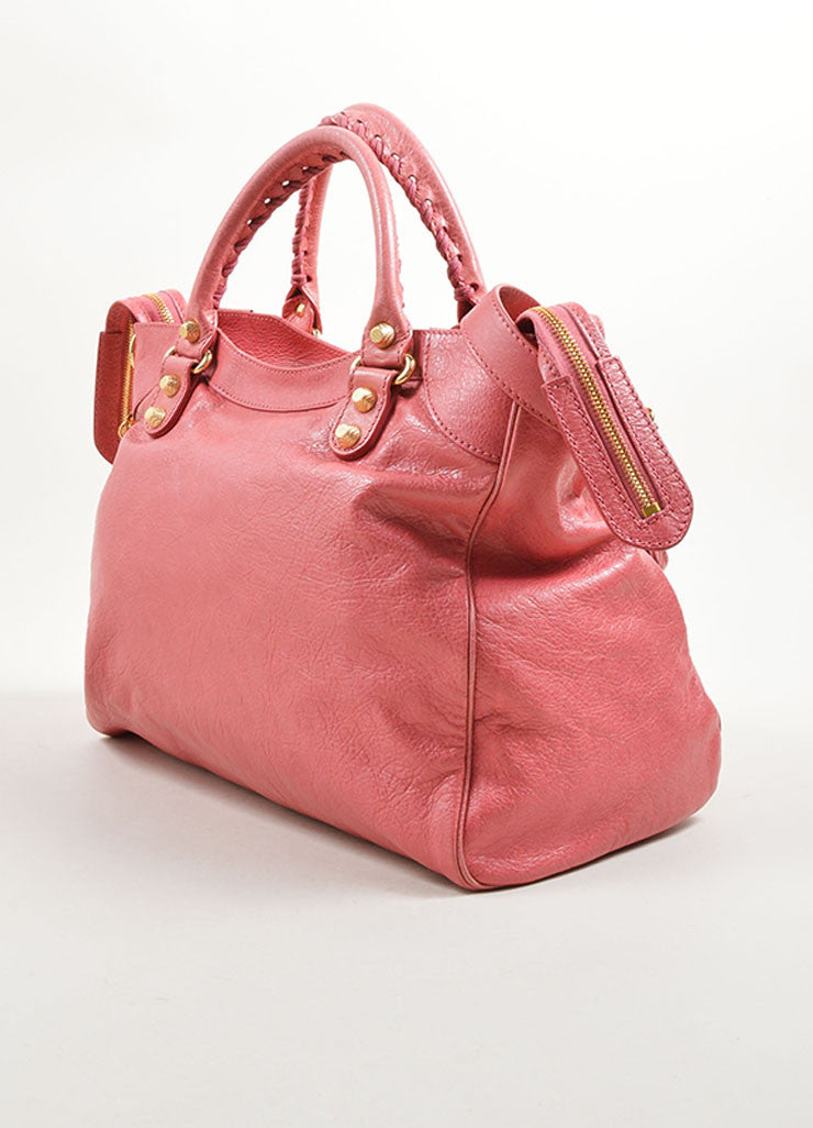 Balenciaga Pink Leather Gold Toned Stud Moto City Tote Bag Sideview