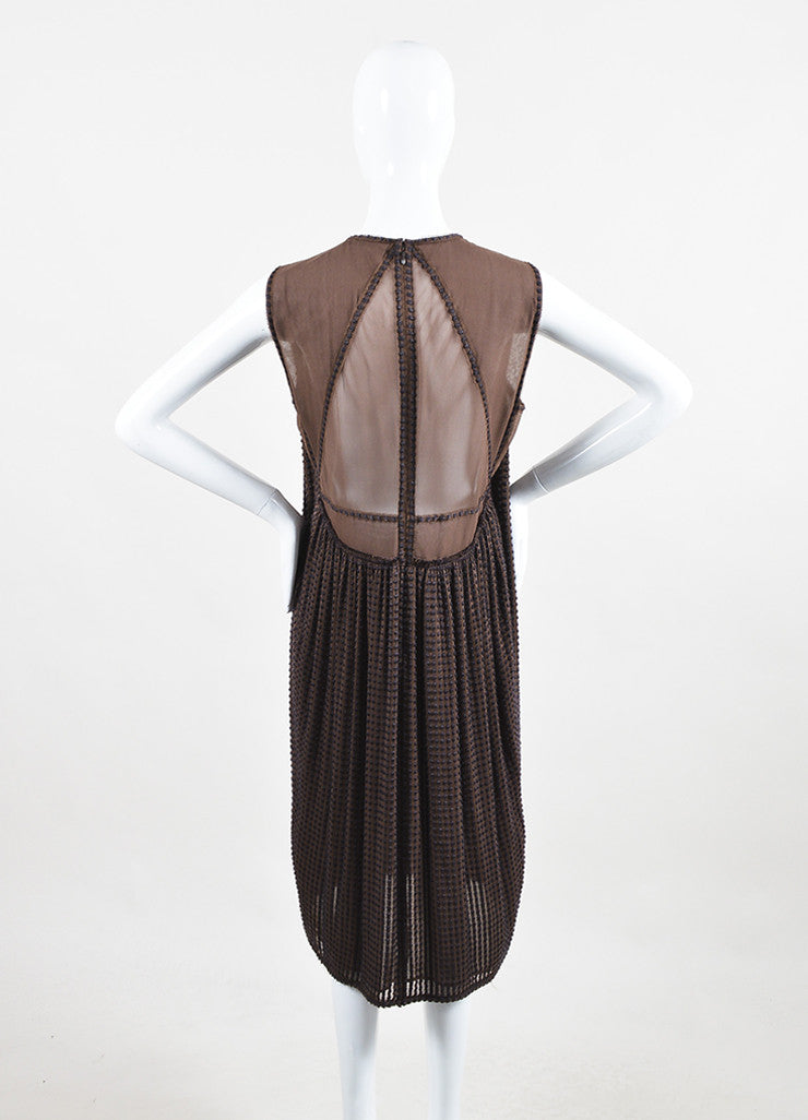 Bottega Veneta Brown Silk Embroidered Sleeveless Shift Dress Backview