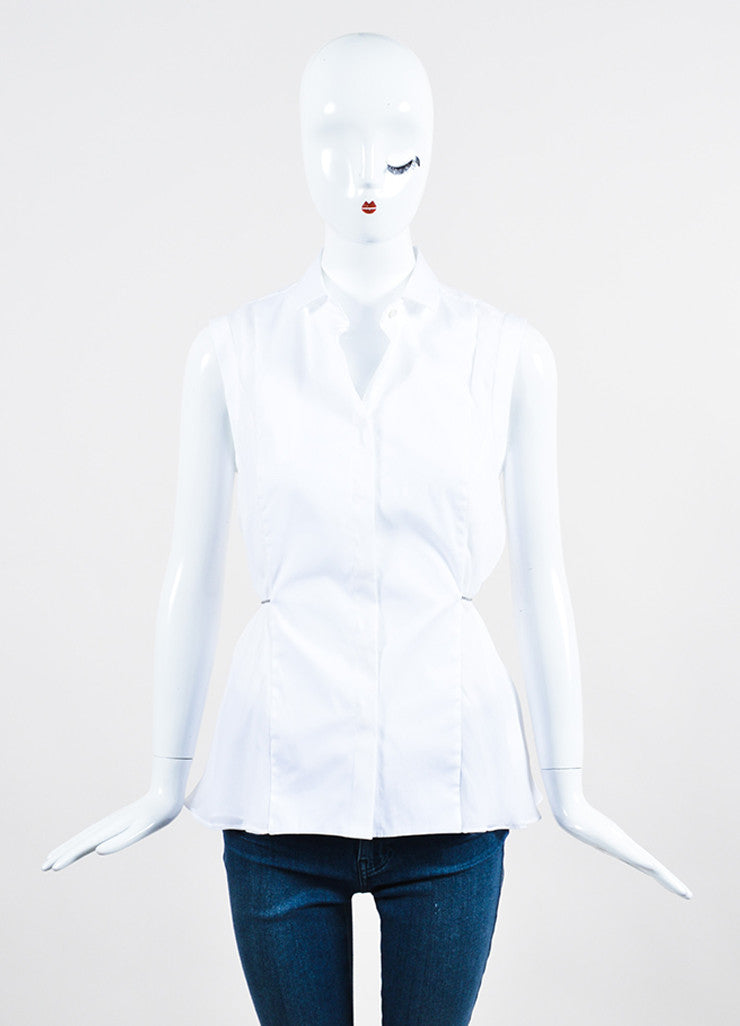 White and Silver Toned Brunello Cucinelli Tie Button Up Sleeveless Blouse Frontview
