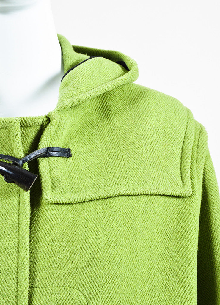 Burberry Lime Green Wool Hooded Toggle Button Coat Detail