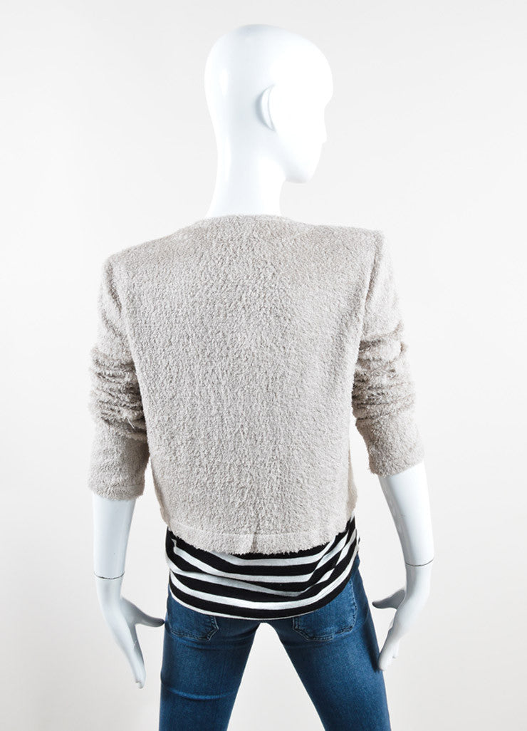 Chanel Taupe Terry Chenille Open Front Sweater Backview