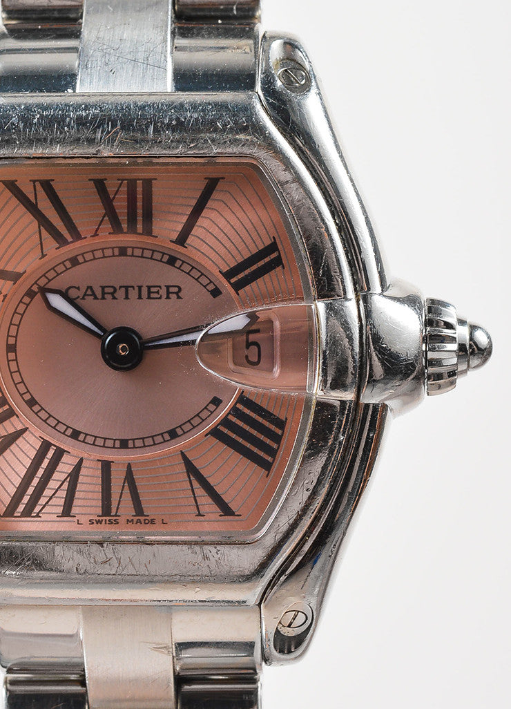 "Cartier Silver Toned and Pink Stainless Steel Tonneau ""Roadster"" Watch Detail"