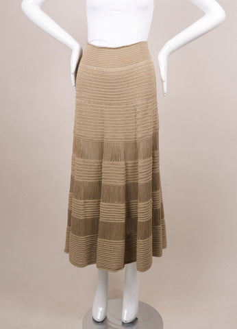 Celine Beige Silk and Cotton Tiered Knit Long Skirt Frontview