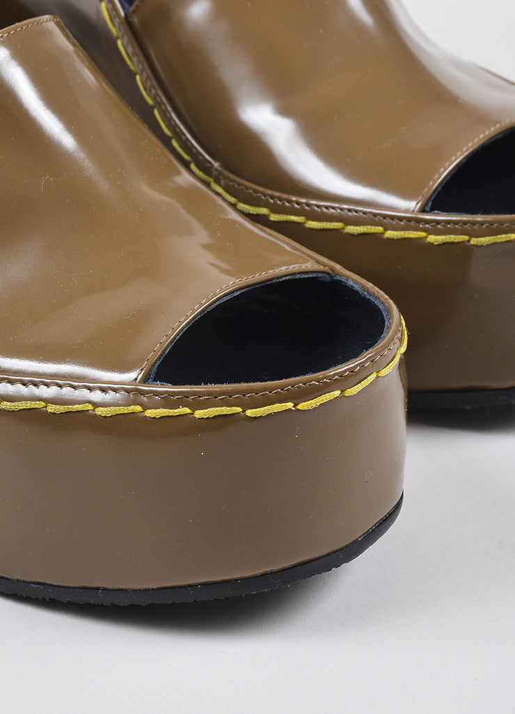 Celine Brown Patent Leather Covered Platform Heeled Wedge Ankle Sandals Detail