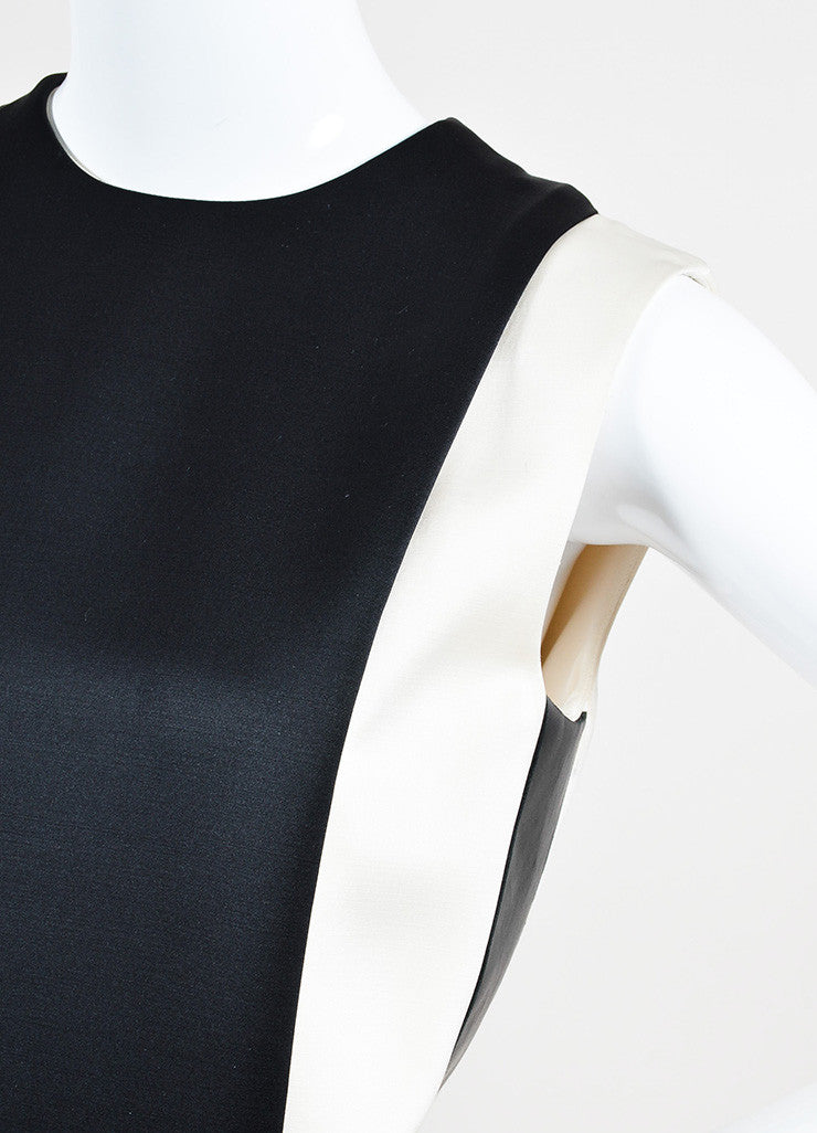 Celine Cream and Black Silk and Wool Blend Leather Trim Color Block Shift Dress Detail
