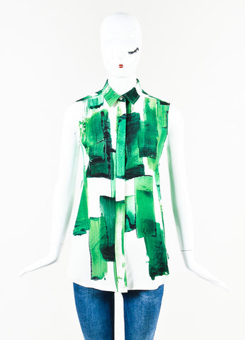 Celine Green and White Silk Brushstroke Print Button Up Collared Sleeveless Blouse Top Frontview