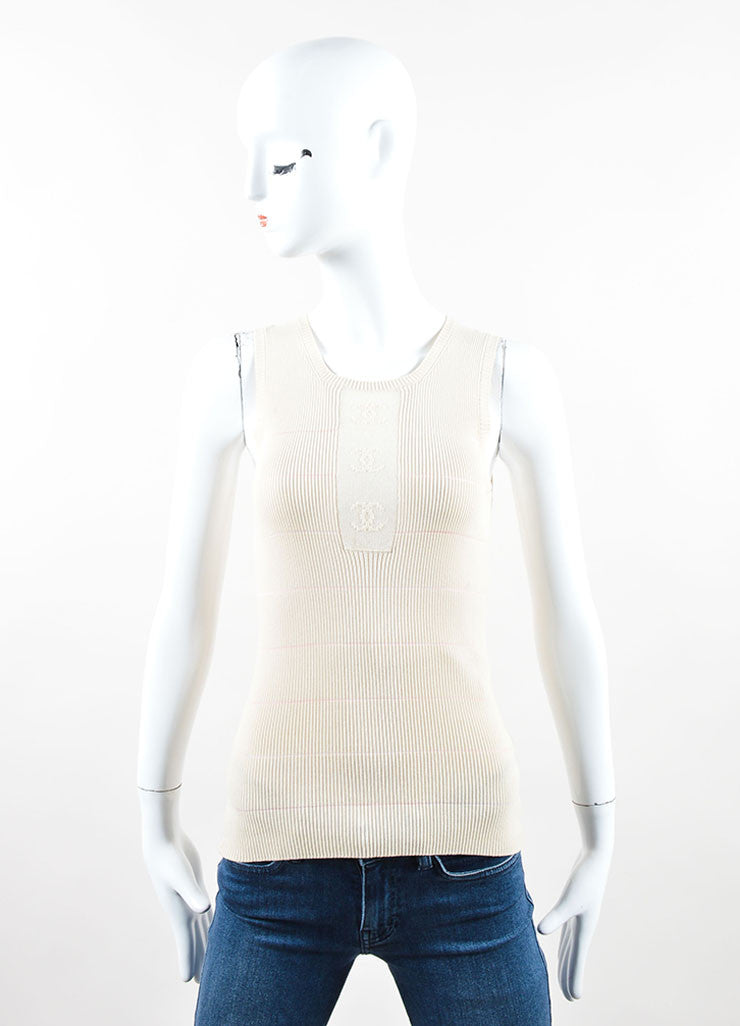 "Chanel Cream and Pink Cotton Blend Knit ""CC"" Sheer Sleeveless Shell Top Frontview"