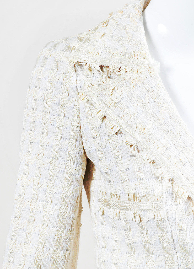 "Chanel ""Light Beige"" and White Silk Blend Tweed Buttoned Car Coat Detail"