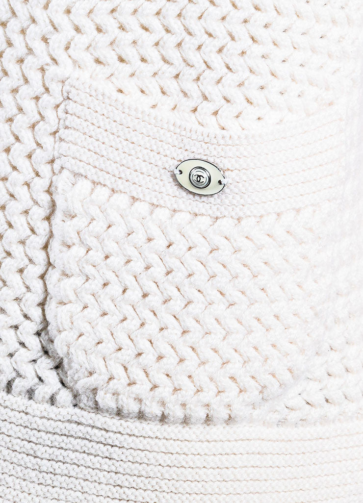 Chanel Cream Cashmere Chunky Knit Sweater Detail