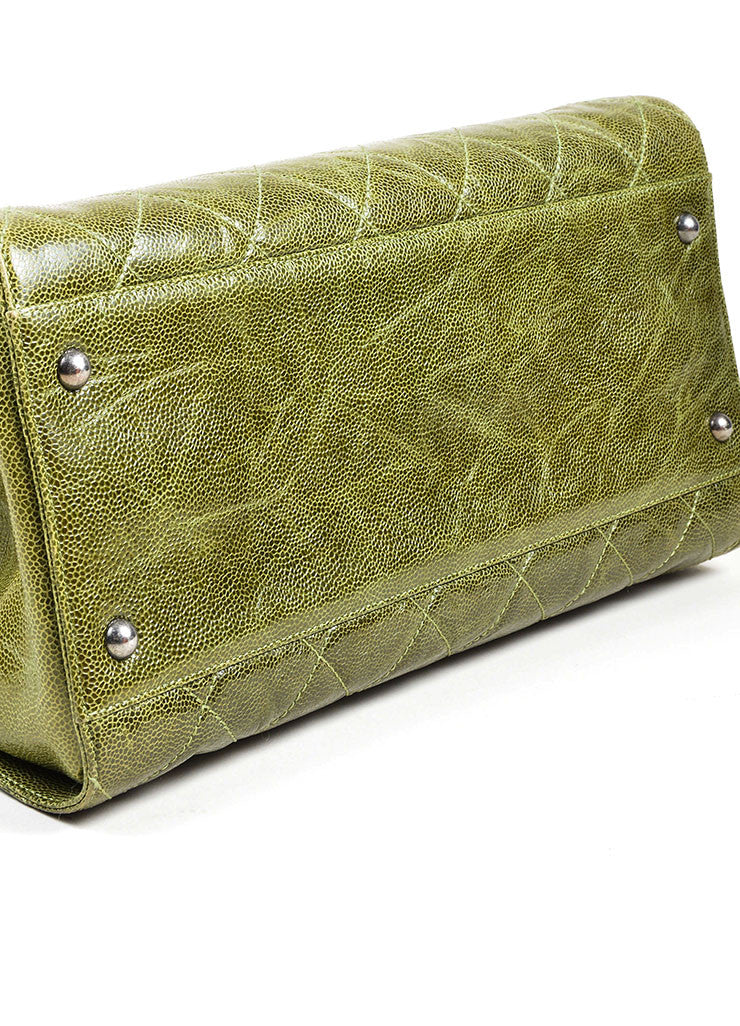 "Olive Green Chanel Caviar Leather Quilted Chain Strap ""Crave"" Tote Bag Bottom View"
