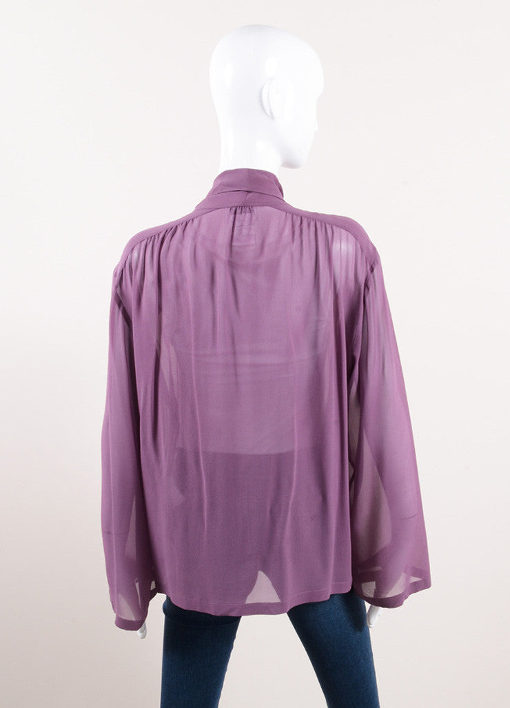"Chanel Purple Silk Tie Collar ""CC"" Button Down Long Sleeve Blouse Backview"