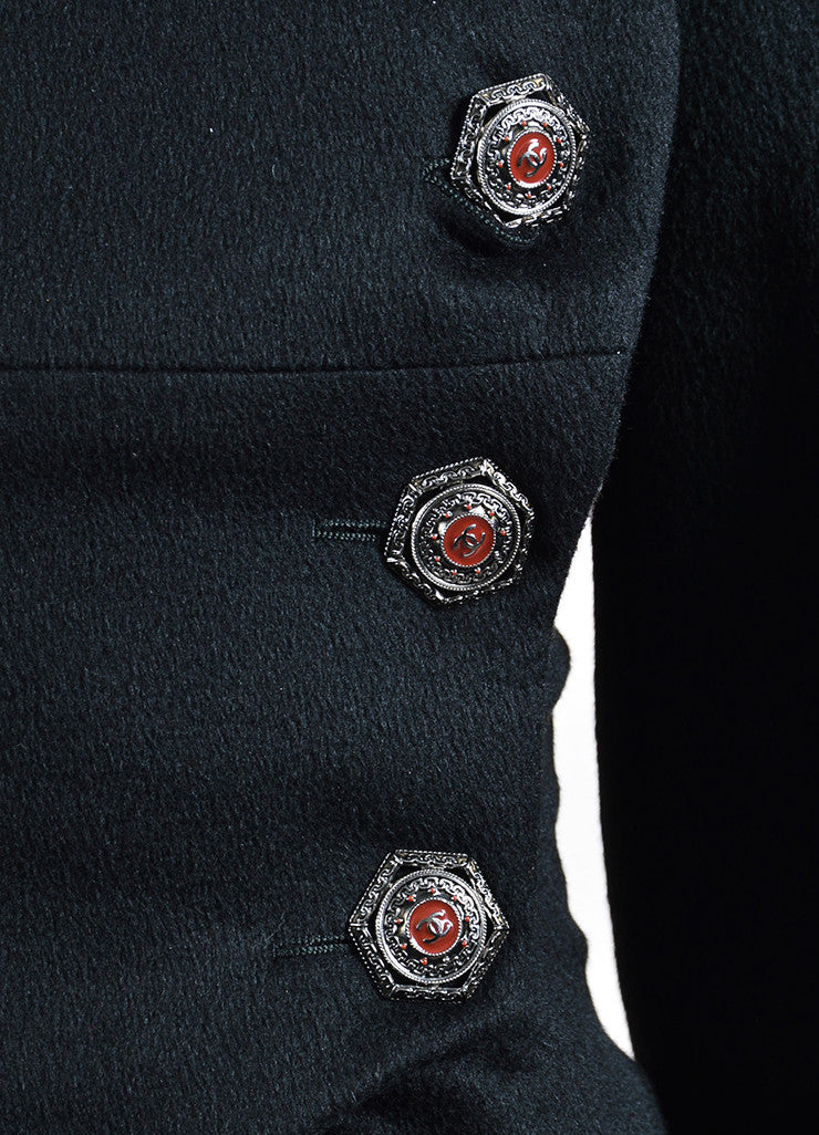 Black Chanel Cashmere Beaver Trim Double Breasted 'CC' Button Corset Coat Detail